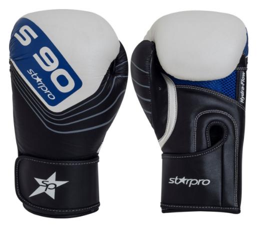 Leren bokshandschoenen Starpro S90 | zwart-wit-blauw