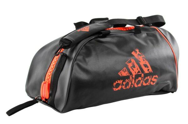 Adidas sporttas en rugzak | PU-leer | zwart met oranje logo