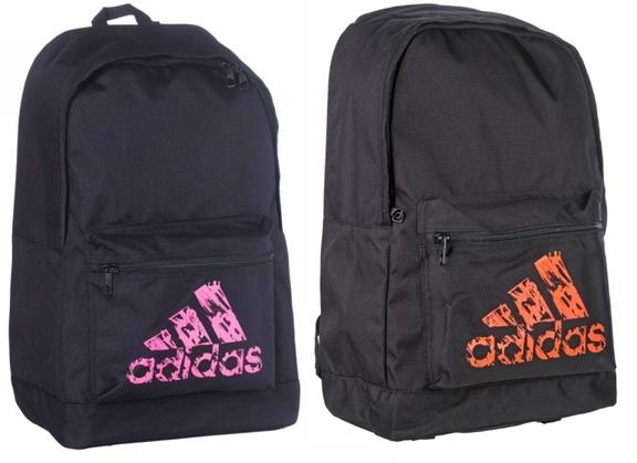 Adidas rugzak basic model | zwart-roze of zwart-oranje