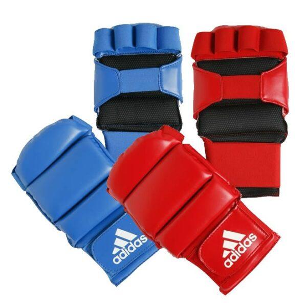 Jiujitsu-handschoenen Adidas   goedgekeurd   rood en blauw