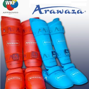 Scheen/wreef-beschermers voor karate Arawaza | WKF | rood