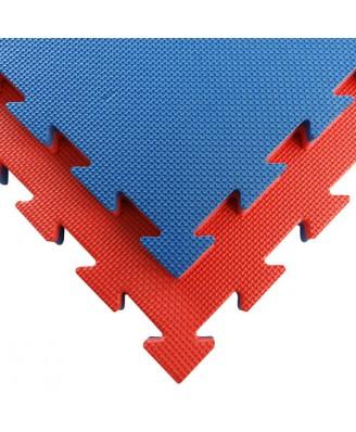 Puzzelmat budo & MMA Tatamix | 3 cm| T-relief | blauw-rood