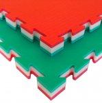 Puzzelmat voor judo Tatamix   4 cm   zacht   groen-wit-rood