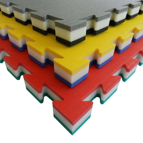 Puzzelmat voor judo Tatamix | 4 cm | zacht | groen-wit-rood