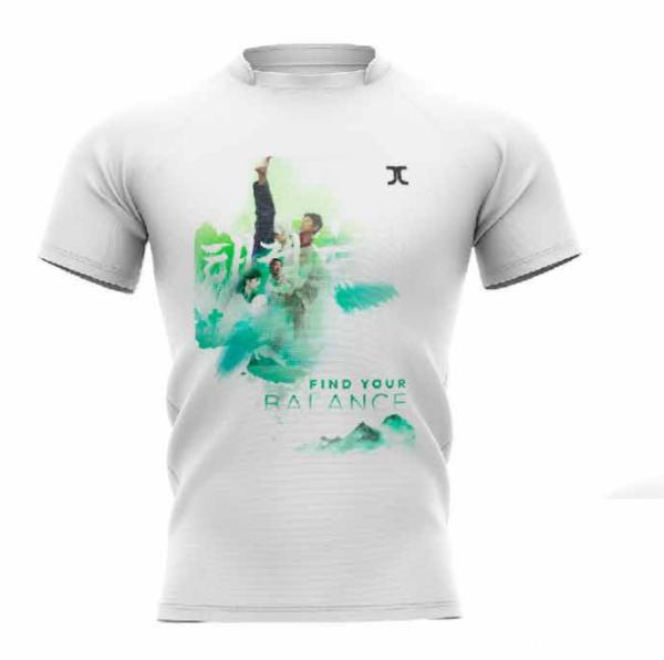 Trainingshirt JCalicu Taekwondo Find your balance wit-groen