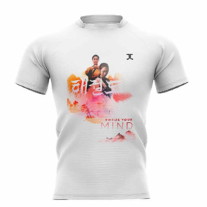 Trainingshirt JCalicu Taekwondo Focus your Mind | wit-oranje