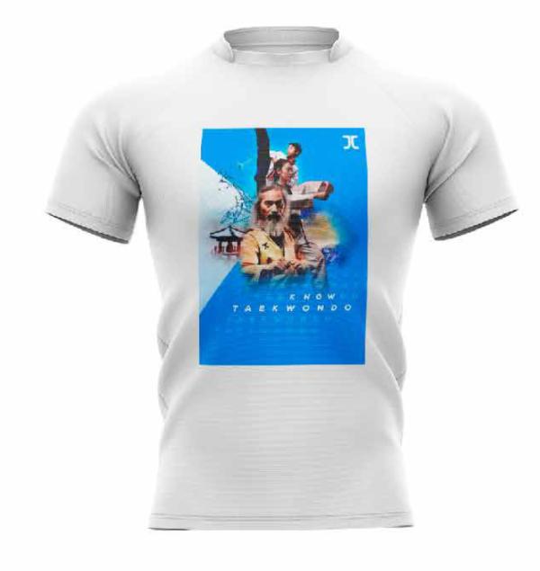 Trainingshirt JC Taekwondo Know Taekwondo | wit-blauw