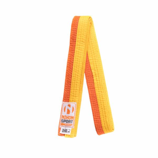 Tweekleurige judo- en karatebanden Nihon | geel-oranje | 280
