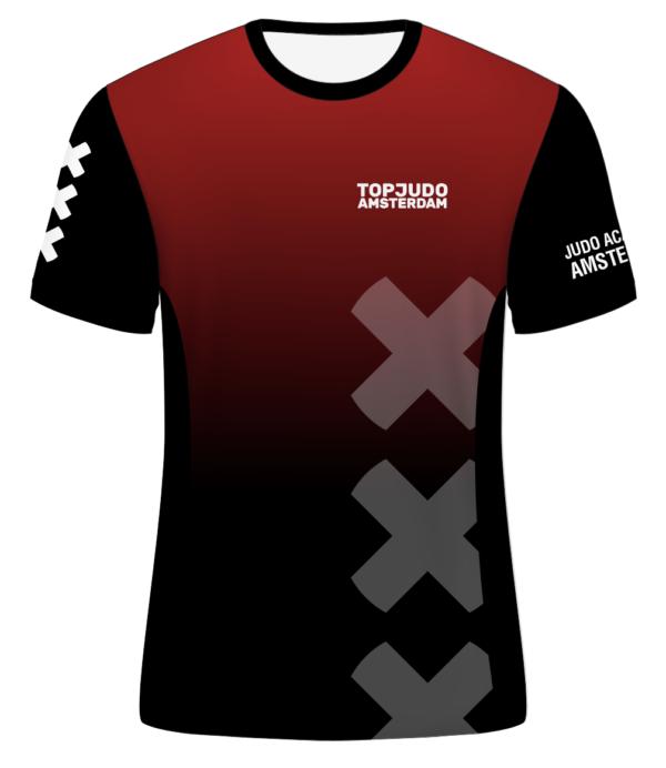 TopJudo Amsterdam shirt rood/zwart vrouwen