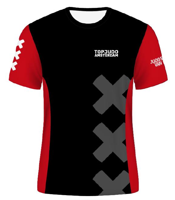 TopJudo Amsterdam shirt zwart/rood vrouwen
