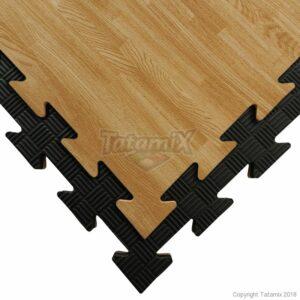 Puzzelmat in houtlook & zwart 5-lijnenrelief Tatamix | 2 cm