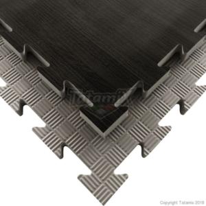 Puzzelmat houtmotief & 5-lijnenrelief Tatamix | 2 cm | zwart