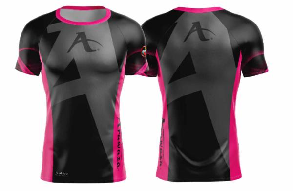 T-shirt Arawaza   dry-fit   zwart-roze