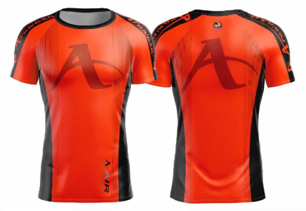 T-shirt Arawaza | dry-fit | oranje-zwart