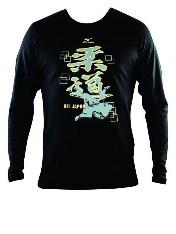 Mizuno Judo T-shirt lange mouw kids zwart