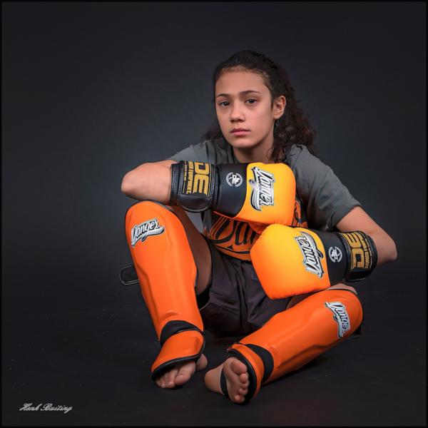 Kickboks scheenbeschermers voor kinderen Danger | oranje