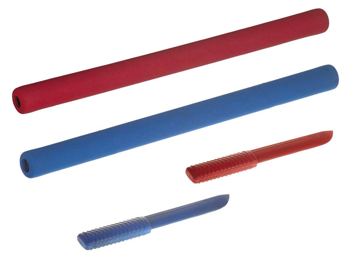 Ju-Jutsu Duo Set Soft Stick en Messen | rood en blauw