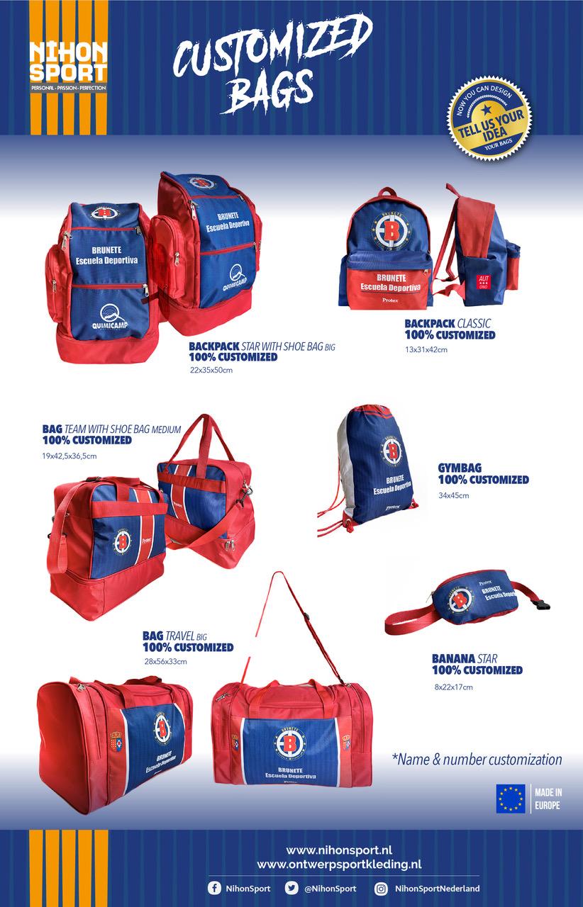 Nieuwe te customizen (sport)tassen toegevoegd aan het assortiment